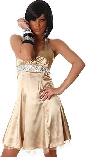 Jela London Damen Partykleid Satin Abendkleid Glitzer A-Linie Skinny Neckholder Wetlook metallic, Gold, 32-36 (S/M)