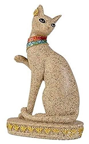 WQQLQX Estatuilla Gato Estatua Arenisca Escultura Oficina Oficina decoración del hogar artículos Egipto Gato Animal estatuillas artesanías religiosos Feng Shui decoración Arte Regalos Estatua