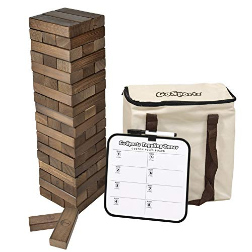 GoSports Large Dark Stain Toppling Tower with Bonus Rules | Starts at 1.5' and Grows to Over 3' | Made from Premium Brown Stained Blocks