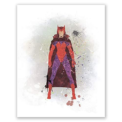 PGbureau Infinity War Poster Scarlet Witch - Watercolor Wall Art Decor - Nursery Decor for Children (8x10)