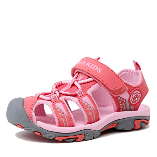 SAGUARO Boys Girls Kids Outdoor Sport Closed-Toe Breathable Mesh Water Athletic Sandals Shoes Pink 11.5 Little Kid