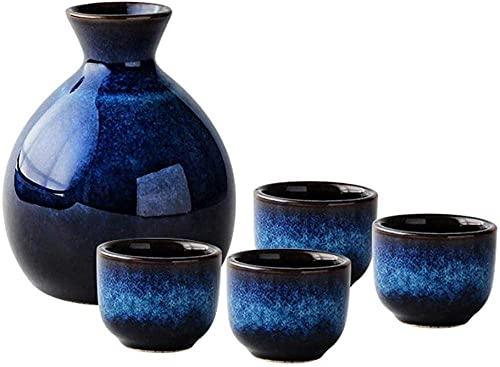 Potes de té Sake Japanese Set Navy Azul Copa de Cerámica Artesanías Copas de vino Conjunto de copa de vino para un servicio de sake de cálido / frío para la decoración del hogar Mejor regalo Familia a