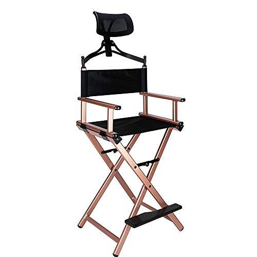 Silla plegable para artista de maquillaje, silla portátil, silla plegable de aluminio con reposacabezas (color dorado)