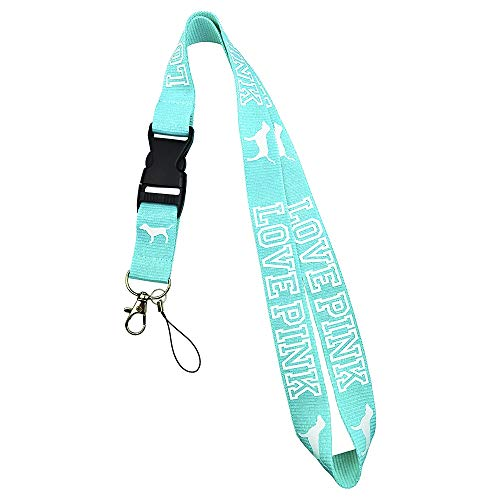 Lanyard Neck Strap Keychain ID Holder Keyring for Keys Phones Bags Keys Cell Phones Bags Accessories-Detachable Lanyard with Quick Release Buckle (Blue + White Letters)