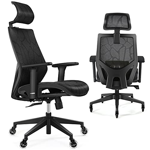 Ergonomic Office Chair, Tribesigns Mesh Ergonomic Chair with Adjustable Lumbar Support, Headrest, 3D Armrest, Blade Wheels, High Back Executive Desk Chair for Office, Home