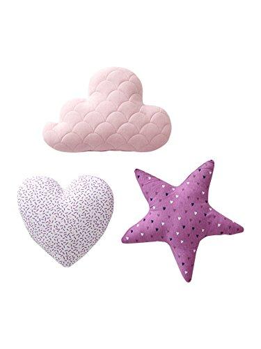 VERTBAUDET 3er-Set Kissen für Kinderzimmer violett ONE SIZE