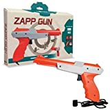 Compatible with NES or Famicom gaming system Two-tone color, revolver style hand gun Hard plastic material The Tomee Zapp Gun is a must-have item for any die-hard NES fans. Note: Not Compatible with LED, LCD, HDTV