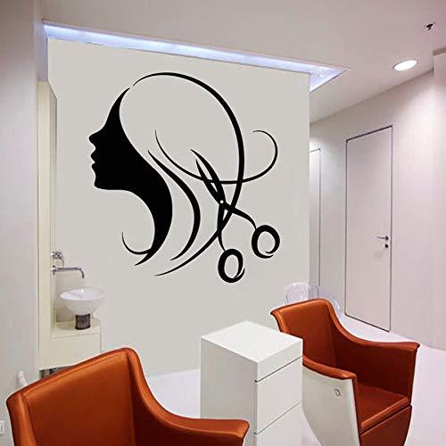 Etiqueta de la pared Salón de belleza Mujer Peluquería Decoración de interiores Diseño de peinado Vinilo Etiqueta de la ventana Arte mural
