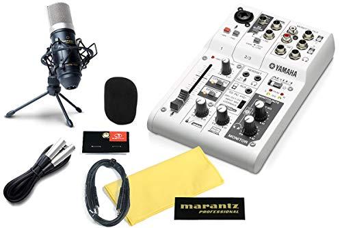 YAMAHA AG03 録音セット 動画配信 (コンデンサーマイク、専用ショックマウント・マイクケーブル3m、卓上マイクスタンド、オリジナルクロス、オリジナルステッカー) SELVAステレオミニケーブル付