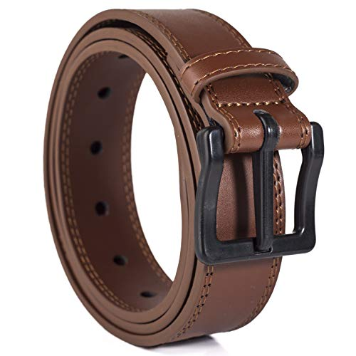 ITAY Metal Free 34 mm 34-36 Leather Brown Belt with Airport Friendly Nickel Free Strong New Buckle
