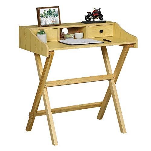 Itaar Escritorio plegable, ahorra espacio, patas de pino, para ordenador en casa, despacho, mesa plegable para PC, no requiere montaje, 80 x 47,5 x 86 cm, natural