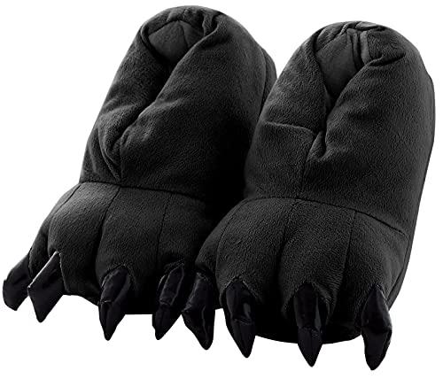 Aivtalk - Zapatilla de Garra Animal Cosplay Disfraz Para Navidad Halloween Slipper de Franela Cálido Suave Para Casa Adulto Unisex Talla EU 38-45 - Negro