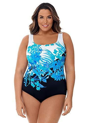 Longitude Women's Plus Size Swimwear Scenic Route Panel Scoopneck Tank Soft Cup Double Strap One Piece Swimsuit, Blue, 20 Plus