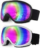 WholeFire Gafas de Esquí 2 Unidades, Gafas de Nieve, Snowboard con Lente Doble Antivaho para Hombres, Mujeres, Jóvenes, Niños, Esquí, Patinaje, Moto de Nieve, Resistente al Viento, Protección UV400