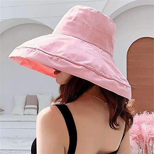 Sombrero de Mujer Sombrero de Cubo Sombrero dePescador de Cuatro Estaciones Sombrero de ala Grande Sombrero de Pescador de Doble Cara Visera para el Sol Sombrero para el Sol-K34-Pink-56-58CM