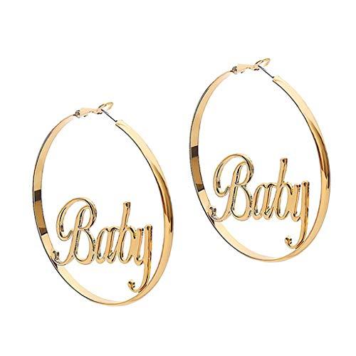 P Prettyia Pendientes con Aros Grandes con Letras (Baby/Femme para Selecciñon) - Baby