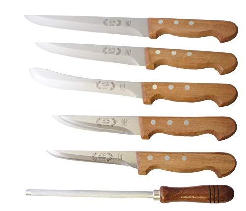 Messerset Ro-Da 6tlg. Fleischermesser Schlachtermesser Holzgriff