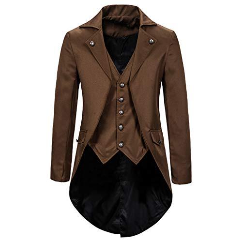 INLLADDY Herren Frack Jacke Anzug Blazer Lange Gothic Vintage Gehrock Uniform Smoking Kostüm Slim Fit Festlich Party Oberbekleidung Cosplay Mantel Männer Outwear Kafe XL