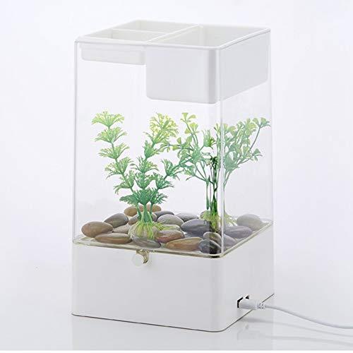 TOYBO ERMEI Fauler Mini-Goldfischschreibtisch des kleinen Acrylschwimmbeckens automatischer Reinigung transparenter Fischbehälter-White
