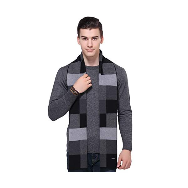 KODOD Plaid Striped Wool Scarf for Men – Winter Soft Thick Cashmere Knit Scarves
