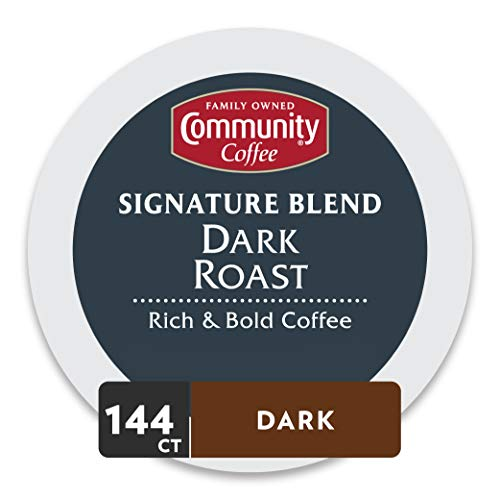 Community Coffee Signature Blend 144 Count Coffee Pods, Dark Roast, Compatible with Keurig 2.0 K-Cup Brewers (36 Count, Pack of 4)