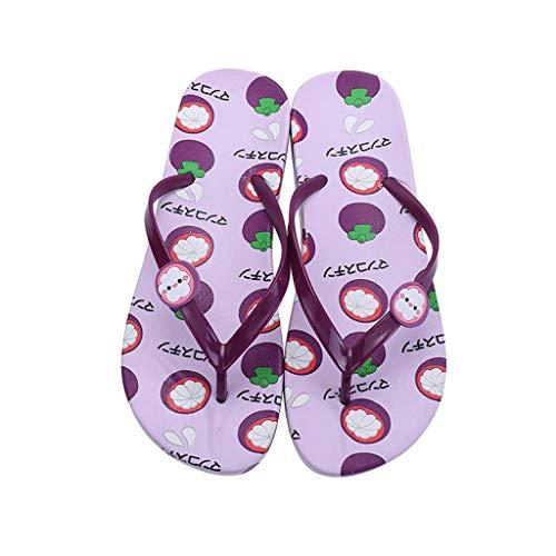 Las Frutas de Las Mujeres del patrón de Playa del Verano Colorido Zapatillas Sandalias Planas Pinzas Diapositivas Cómodo (Color : Mangosteen, Size : 36)