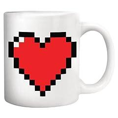 Idea Regalo - Kikkerland Mug Cuore Pixel, Ceramica, Multicolore, 12x9x11 cm