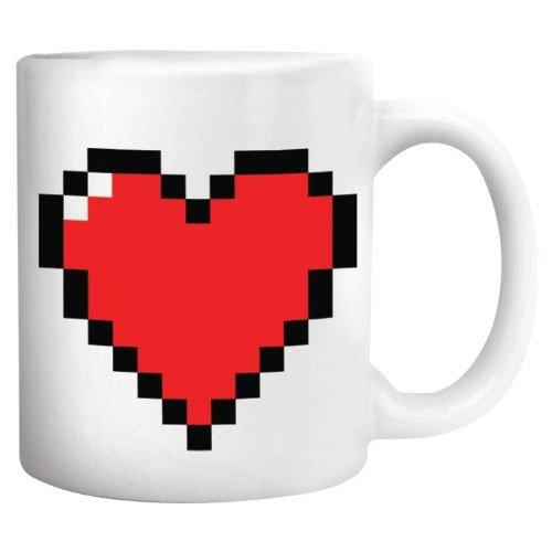 Kikkerland Pixel Heart - Taza - diseño de corazón