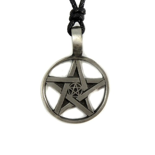 Mystical & Magical Pewter Double Pentagram Pentacle Cross Pendant Pagan Gothic Wiccan - on black rope necklace