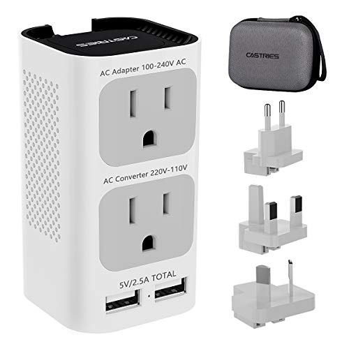 Castries Travel Adapter and Voltage Converter,Upgraded Travel Power Adapter Worldwide Power Plug Adapter Travel Socket Step Down 220V to 110V with 2 USB Ports and EU/UK/AU/US Plug Adapter (Gray-White)