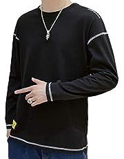 秋服 メンズ Tシャツ 長袖 シャツ メンズ カットソー 無地 丸首 ロングTシャツ カジュアル ロンt ゆったり ながそでtシャツ オシャレ トップス おおきいサイズ 秋 冬 深灰 L