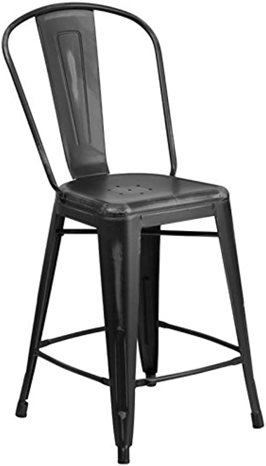 Bowery Hill 24  Metal Counter Stool in Distressed Black