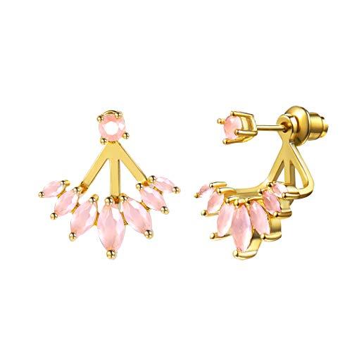 Crystal Quartz Earrings Wedding Bridal Jewelry Yellow Gold Rose Quartz Detachable Fan Shape Dainty Earrings