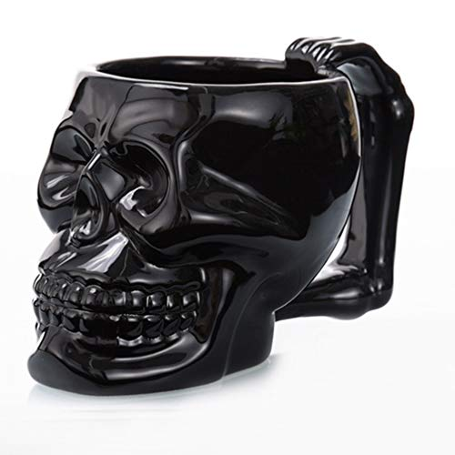 Holibanna Kreative Schädel Tasse Skull Mug Totenkopf Tasse für Whisky Kaffee Wein Bier Tee Getränke Halloween Tischdeko (Schwarz)