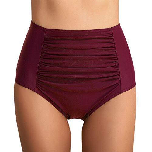 SUCES Badehose Damen Shorts Größe Größ Frauen Bikini Hohe Taille Geraffte Hosen Schwimmen Leggings Wassersport Slip Schwimmhose Bikinihose (XXXXXL, 🍎Wein)