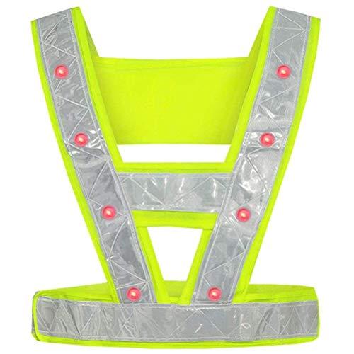 LED Warnweste Reflektor Sicherheitsweste 16 LED Reflektierende Streifen Warnweste Bekleidung für Joggen Reiten