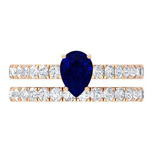 Anillo solitario para novia, piedras preciosas de 1,68 quilates, D-VSSI Moissanite 5x7 mm en forma de pera azul zafiro creado en laboratorio, anillo de oro catedral, 14K Oro rosa, Size:EU 56