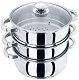 24cm 3 Tier Stainless Steel Vegetable and Meat Chicken/Lamb/Beef Food Steamer Steam Set