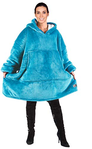 Oversized Hoodie Blanket Sweatshirt,Super Soft Warm Comfortable Sherpa Giant Pullover with Large Front Pocket,for Adults Men Women Teenagers Kids Wife Girlfriend,Blue