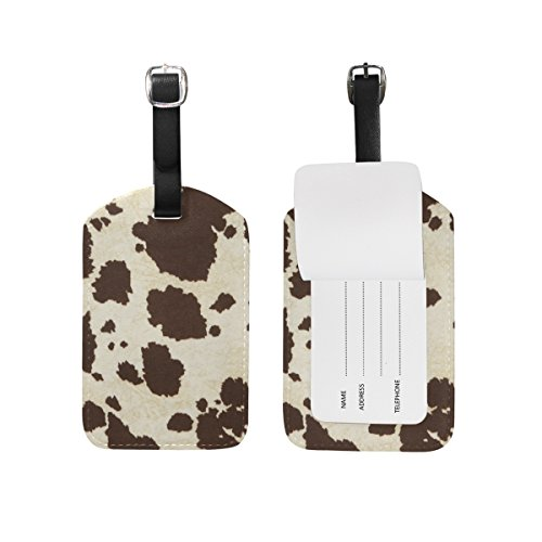LEISISI Big Cow Fur Print Pattern Travel Luggage Tags Suitcase Luggage Bag Tags, Travel ID Bag Tag Airlines Baggage Labels Pack of 2