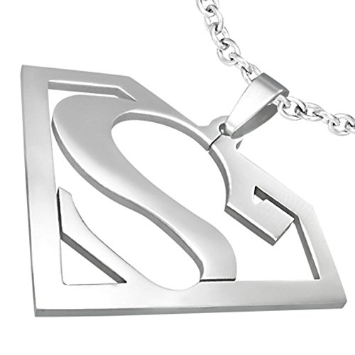 ZENSE - Stainless Steel S Alphabet Triangle and Superman Pendant ZP0075