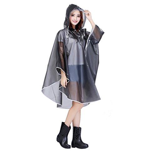 Mantella per pioggia, per bicicletta, da donna, per moto, con cappuccio, grandi dimensioni, impermeabile, per bambini, utilizzabile come giacca, cappotto, in PVC grigio