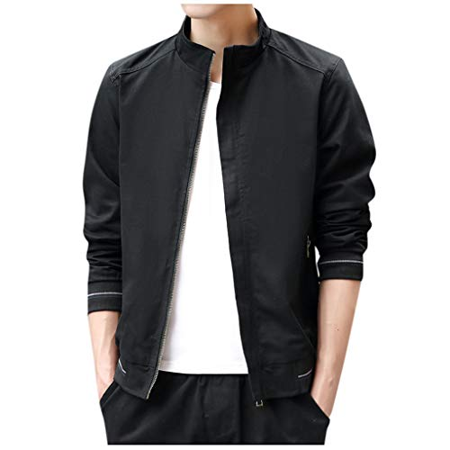 Read About Willow S 2019 Autumn Men's Fashion Solid Color Jacket Casual Long Sleeve Zipper Large Siz...