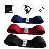 LIPPIA Pack 3 Bandes tissu élastique Fitness antidérapant + une corde à sauter + ses accessoires de remplacement + son sac de rangement, sport, crossfit, adulte, entrainement, boxe musculation et yoga