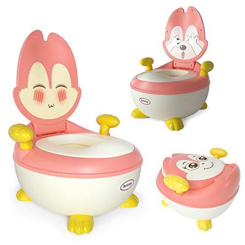 Besrey Töpfchen für Kinder, Babytopf WC/Klo Kindertoilette mit Griffe, Toilettentrainer für Jungen und Mädchen mit Anti-Rutsch-Funktion, 1-5 Jahren Rosa