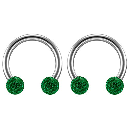 2 st 16 Guage 1,2 mm Circulaire Barbell Oorbellen Daith Forward Helix 16 g 1,2 mm Titanium Tragus Anti Rook Rim Oor Lobe Wenkbrauw Lip Cartilage Pinna Bridge Emerald