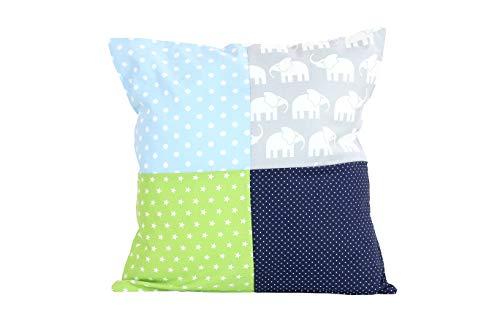 Funda patchwork para cojín de ULLENBOOM ® con elefantes azul verde (funda para cojín de 40x40 cm; 100% algodón; ideal como cojín decorativo para la habitación de los niños)