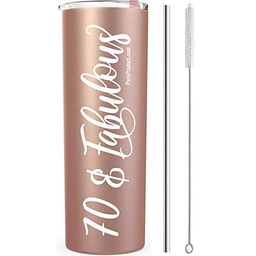 70 & Fabulous 70th Birthday Tumbler 20 oz White Stainless Steel| 70th Birthday Party Supplies for Girls| 70th Birthday Gift idea| Party Supplies| 70th Birthday Decorations