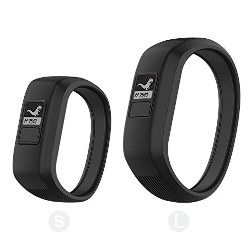 Seltureone (2 Pack) Compatible for Garmin Vivofit jr,jr 2,3 Bands, All-in-one Silicon Stretchy Replacement Watch Bands for Kids Boys Girls Small Large (No Tracker)-Black