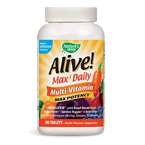 Nature's Way Alive! Premium Max3 Daily Multi-Vitamin Energizer w/Food Based Blends, 180 Count